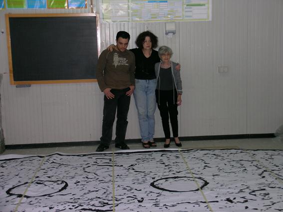 Davanti al progetto dell'opera con Adele Cambria e lo studente Aberto Celano