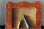 Teatrino: Pinocchio rimproverato dalle Fate,  terracotta con smalti, cm 31x25