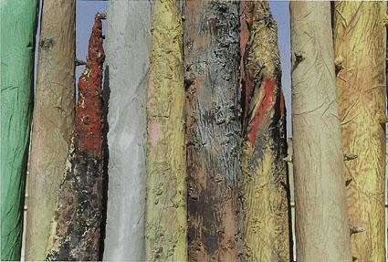 La Foresta,  ferro, cartapesta, acrilici e terra, h. mt 2,50 - 3,20